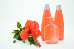 Soap and Shampoo with Flower. Herbal Soft Soap in Dispenser and Herbal Shampoo With Tropical Hibiscus Royalty Free Stock Photos