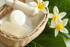 Soap and shower gel in basket royalty free stock photo