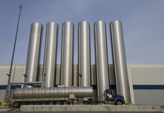 Soap Silos. Liquid storage silos and a truck Stock Images