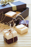Soap slices in gift box. White and dark chocolate soap slices in gift box Stock Images