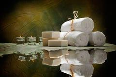 soap spa παρέχει τις πετσέτες Στοκ Εικόνες