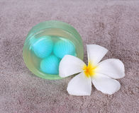 Soap spa. With frangipani flower Royalty Free Stock Photo