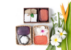 Soap spa gift box isolated on white background. Healthy care concept Stock Images