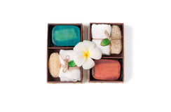 Soap spa gift box  on white background. Healthy care concept Royalty Free Stock Photos