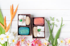 Soap spa gift box on white wood background. Healthy care concept Royalty Free Stock Photography