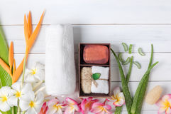 Soap spa gift box on white wood background. Healthy care concept Royalty Free Stock Image