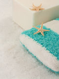 Soap and sponge over sea salt background Royalty Free Stock Photos