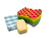 Soap, sponge and towel Royalty Free Stock Photo