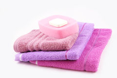 Soap, sponge and towels Royalty Free Stock Images