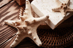 Soap with starfish Stock Images