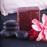 Soap, stones and flowers Royalty Free Stock Photography