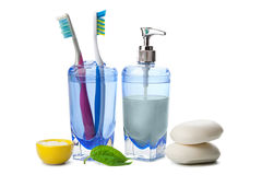 Soap and toothbrushes isolated Stock Photos
