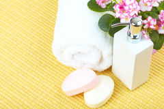 Soap and towel. Stock Image
