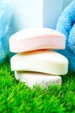 Soap and towel. Stock Photos