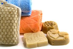 Soap and towel Stock Photography