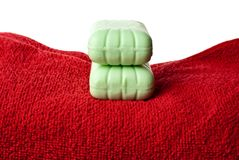 Soap on towel. Royalty Free Stock Photos