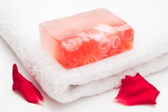 Soap and towel Stock Image