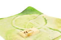 Soap and towel. Stock Photo