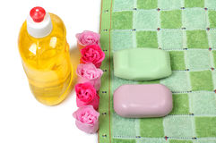 Soap and towel Royalty Free Stock Photos