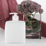 Soap, towel and flower still life Stock Images