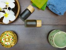 soap, towel, lotion, and aromatherapy Royalty Free Stock Photography