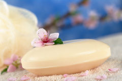 Soap on Towel with Peach Blossom Stock Image