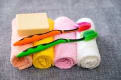 Soap and towel. Shower accessories. Hygiene items. royalty free stock image