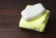 Soap on towel Royalty Free Stock Photo
