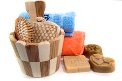 Soap and towels Stock Photography