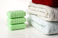 Soap and towels. Stock Photography