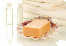 Soap and towels Royalty Free Stock Photos