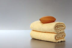 Soap and towels Royalty Free Stock Photo