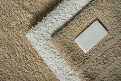 Soap and towels, Bathroom background Stock Image