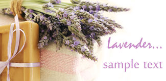 Soap ,towels and Lavender flowers Stock Images