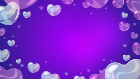 Soap transparent heart-shaped bubbles. Vector cartoon style background with soap transparent heart-shaped bubbles at the border. Violet background stock illustration