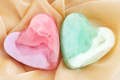 Soap,  two hearts. Two pieces of soap in the form of heart Stock Images