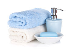 Soap and two towels Stock Photo
