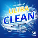Soap ultra clean design product. Toilet or bathroom tub cleanser. Wash soap background design. Laundry detergent package. Ads. Washing machine laundry detergent Stock Photography