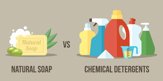 Soap vs detergents. Vector illustration of natural soap vs. chemical detergents. Healthy and natural household cleaning concept. Flat style Stock Photos