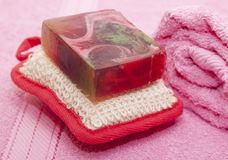 Soap, washcloth, towel.Aroma Therapy - Stock Image Royalty Free Stock Images