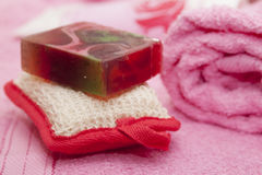 Soap, washcloth, towel. Aroma Therapy - Stock Image Stock Images