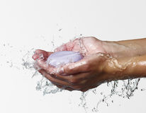 A soap washing woman hands Stock Images