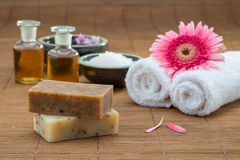 Soap, water bowl china , essential oil, towel for health spa Royalty Free Stock Photography