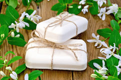 Soap white with flowers of honeysuckle Royalty Free Stock Image