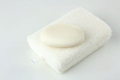 Soap on a white sponge. On a white isolated background Stock Photography