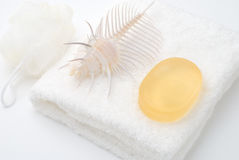 Soap on the white towel. Soap and spiral shell on the white towel Stock Images