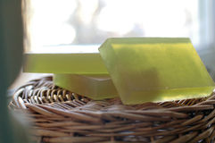 Soap on a wicker basket Royalty Free Stock Photo