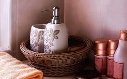 Soapbox i butelka kłaść w koszu Obraz Royalty Free