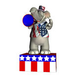 Soapbox - Republican. Elephant standing on a platform speaking through a megaphone Royalty Free Stock Photos