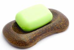 soapdish зеленого мыла стоковая фотография